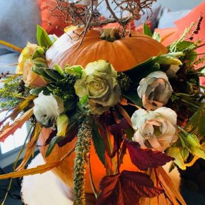 halloween flower arrangement in pumpkin